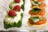 stock photo of crudites  - Delicious party snacks on a plate ready to be served - JPG