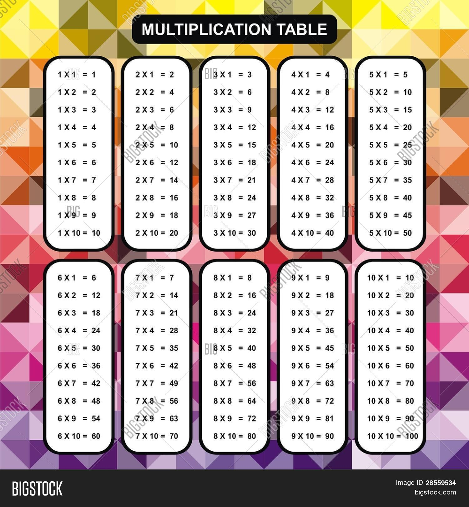 Vector multiplication table vector photo bigstock vector multiplication table educational material for primary school level colorful abstract background one gamestrikefo Image collections