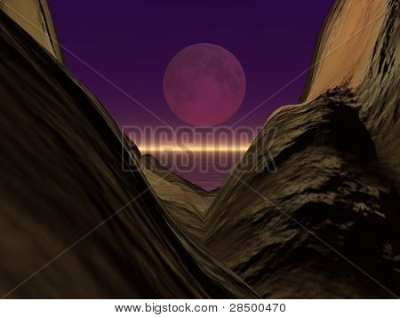Moon View Between 2 Mountains