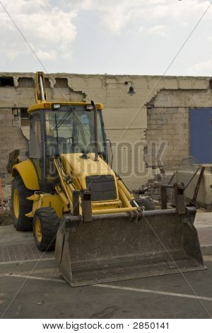 Construction Bulldozer Sitting Alone