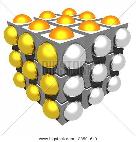 Cube with half spheres - (gold, silver & bronze)