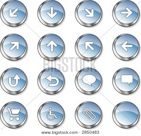 Web Icon Collection  (16 Blue Glossy Buttons)