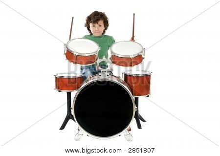 Child Playing A Drum
