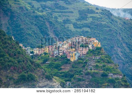 poster of The Town Of Corniglia, One Of The Five Small Towns In The Cinque Terre National Park, Italy. View Fr