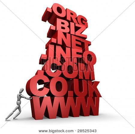 Person Pushing Stack Of 3D Web Site Domain Words