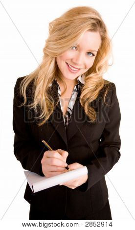 Young Businesswoman Taking Notes