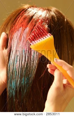 Female Hair Coloring At A Salon