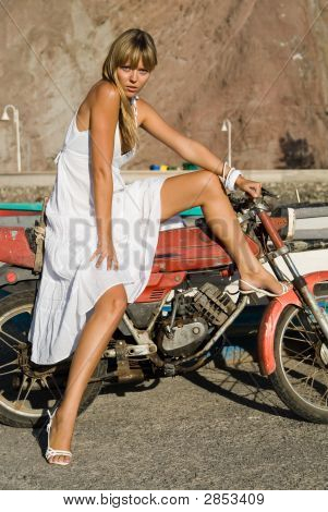 Hispanic Girl With Moto