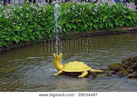 """Fountain """"The Turtles"""" In Peterhof, St Petersburg"""