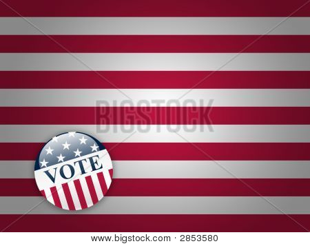 Vote Button On Stripes Background