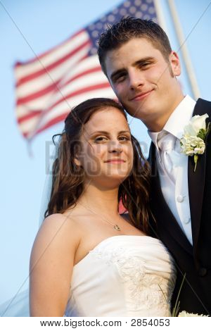 Wedding - Bride And Groom With Flag
