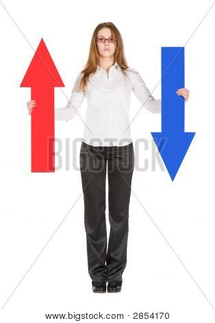 Businesswoman Holding Arrows