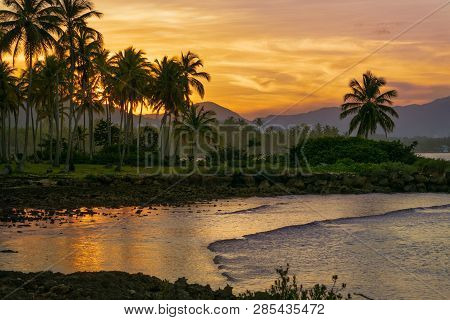 Sunset In Tropical Nature Landscape