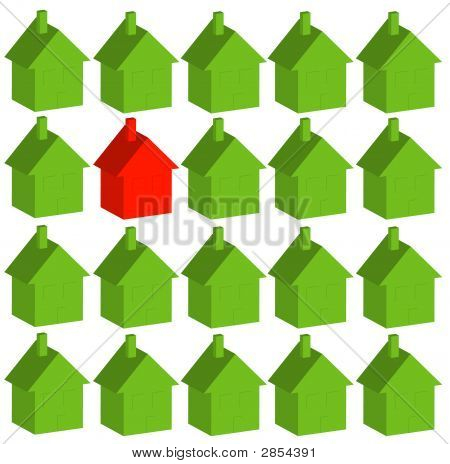 House One Red Among Green