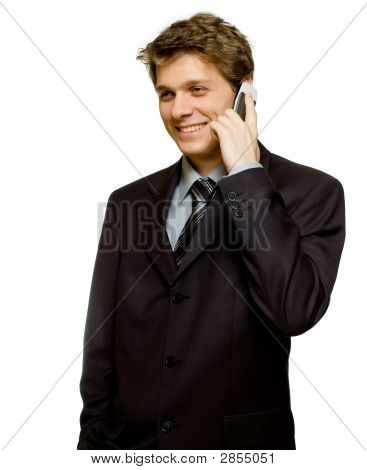 Handsome Young Man In Suit On The Phone