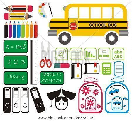 Vector - conjunto de herramientas de la escuela, símbolos & los iconos