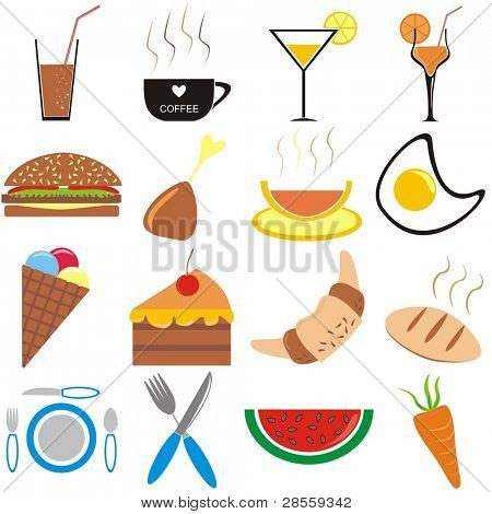 VECTOR - Set of Food Icons & Symbols --- Including  cold drinks (fresh orange & Lemon Juice), hot (coffee), Healthy Food (Egg, Soup,Meat, bakery, bread, crowson, carrot), burger, cake - fork, knife