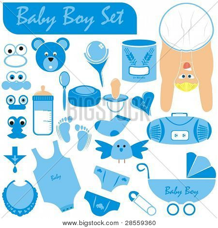 VECTOR - Baby Boy Set - Great Collection including (Baby Body & Face in nice position wearing diaper, stroller, pacifier, rattle, infant underwear, pin, milk bottle, food of grain wheat, teddy, bird)