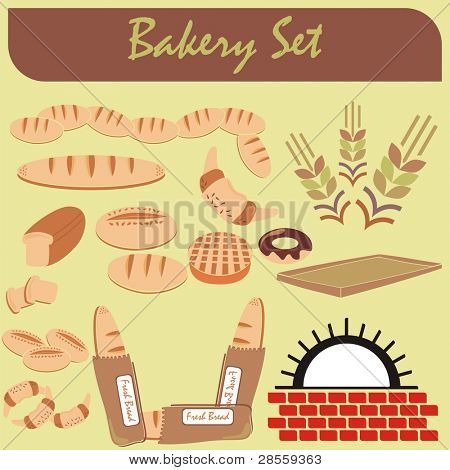 VECTOR - Set of Healthy Bakery Icons - (Furnace, Fresh Bread, chocolate donut, crowson, wheat ear) some of them where arranged and cut, slice of toast)