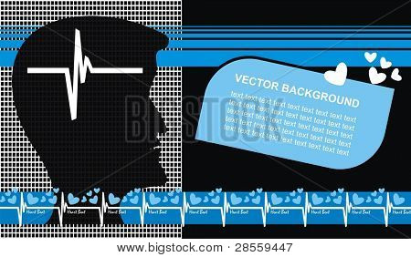 VECTOR - Medical Background - Head, Heart Beat - Scientific & Medical Uses