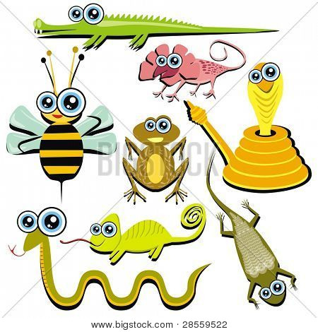 VECTOR - Family of Funny Cartoon Reptile Animals - ( Snake, Chameleon, Cobra, Bee, Crocodile, Frog, Lizard, Gecko)