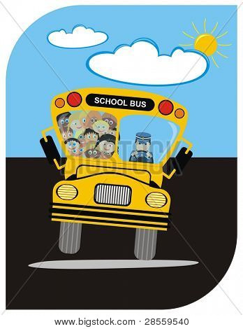 VECTOR - School Bus with Driver & Kindergarten Happy Students Boys & Girls - going on a Journey in Summer - Sunny Weather with few Clouds - Funny Cartoon Character - Active Kids