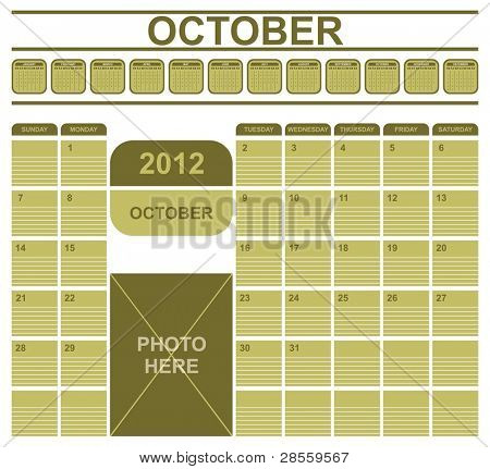 VECTOR - Calendar Office Table Design 2012 - with Space for Writing Notes -  Also Space to Place a Photo - All Months Shown Above Then the Days of the month of October