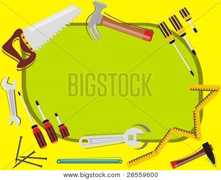 VECTOR - Construction Background - with place for Text - Many Tools Objects (hammer, screwdriver, steel nail, spanner) - Tools of  Woodwork