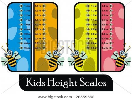 VECTOR - Set of Four Similar Colorful Kids Height Scales (Blue, Orange, Yellow & Pink) - For Boys & Girls - Useful For Family, Clinic, School, Bedroom - Saved in Real Size 1.5 meter - Ready to Print