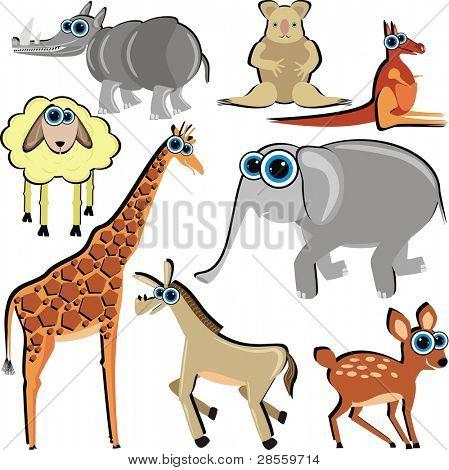 Family of Funny Cartoon Animals which Eat Grass - ( Horse, Deer, Giraffe, Elephant, Kangaroo, Koala, Lamb)