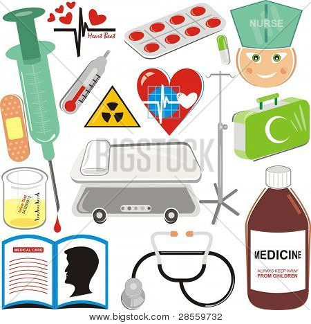 Medical Icons Set - Pill, Injection, Blood Drop, Hospital Bed, Stethoscope, plaster, First Aid Kit, Nurse, Medical Book, Syrup, thermometer, Urine Sample, Heart Pulse Sign, Medicine, trestle