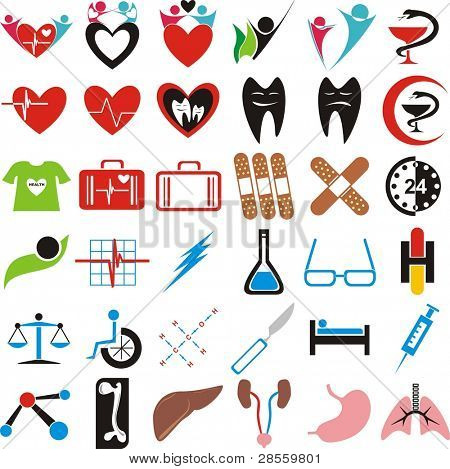 Set of Medical Icons, Symbols, Signs - Human Organs (Lungs, Liver, Kidney, Femur Bone) - Pharmaceutical sign (with blue crescent) Great Collection