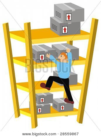 Storekeeper Climbing Warehouse Shelves to move some packed Goods Boxes in Wrong Way -  Cartoon Comic Character - The man has Limited Experience doing his Job - Cardboard are not Arranged