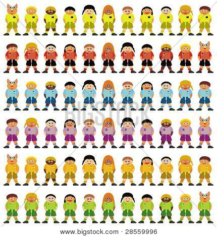 VECTOR - Colorful Football Teams - Group of Kids - School Boys & Girls Standing Along with Teacher - Funny Comic Character - All Smiling - Ready For Sport Lesson & to Play with a Ball - Wearing Shoes