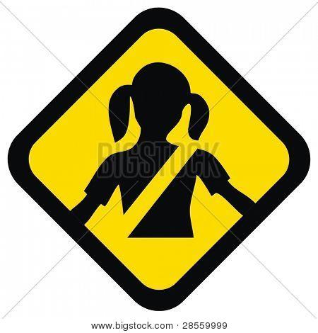 Vektor Warnung Zeichen für Ihre Kid Sicherheit helfen ihnen, Sicherheitsgurt, das Kind Leben retten zu befestigen ich