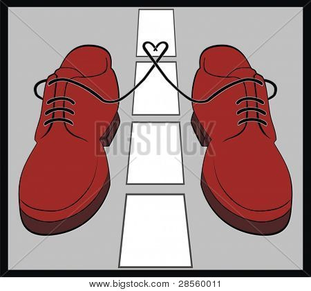 VECTOR - Pair of Shoes on the Road separated by Mid Line - Travel, Business, Walking Concept - Heart Between The Two Shoes - Brown Leather
