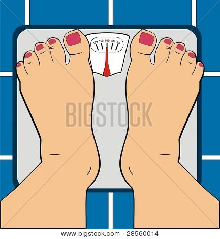 VECTOR - A Women Standing on Bathroom Scale - Scale Indicator Shows 100 KG - Her Toe Nails ar Painted By Manicure - Useful For Diet Use, Overwieght, Fitness & GYM - Low Section of Human