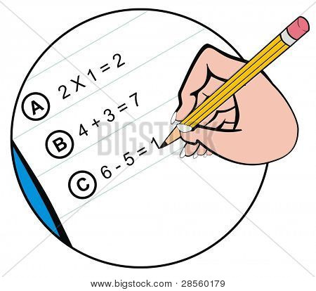VECTOR - Close-up of Hand holding Pencil and Writing the Math Homework on notepaper - Useful for Back to School Event and for Educational Purposes