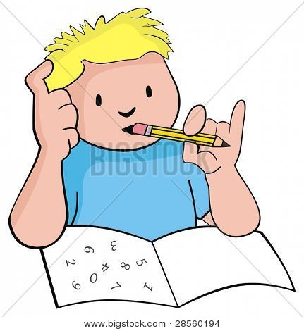 VECTOR - A Cute Boy Student  Studying Mathematics - He is trying to solve his homework - He is Smart and thinking