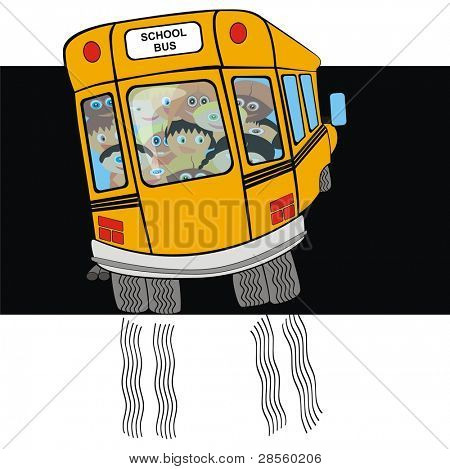 VECTOR - School Bus from Back Side with Kindergarten student - Going on a Journey - Tire Print - Funny Cartoon Character - Active Kids