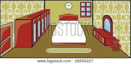Vektor Schlafzimmer mit Möbel Innenarchitektur Doppelbett, Schrank Spiegel, Schrank, Tür, gewinnen