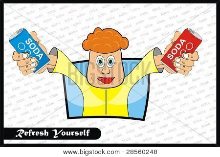 VECTOR - A Man Holding Two Soda by his Hands - Refresh Yourself