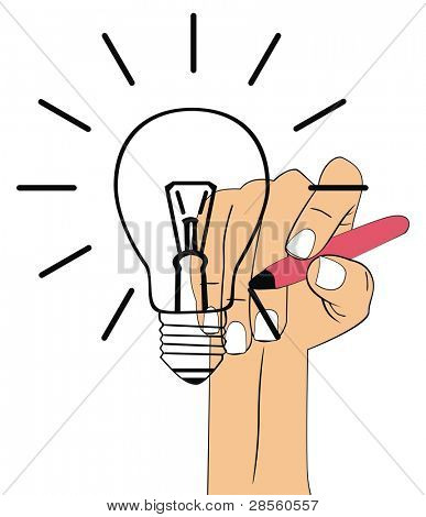 VECTOR - Hand Drawing Bulb - Efficiency Concept