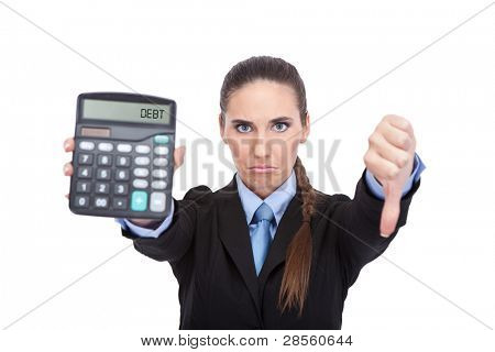debt - Woman accountant showing calculator, concept - debt and finance isolated on white background