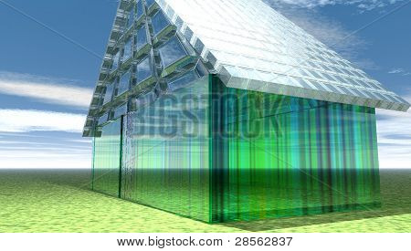 Glass house sitting on a green