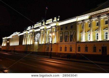 Senate and Synod building at night