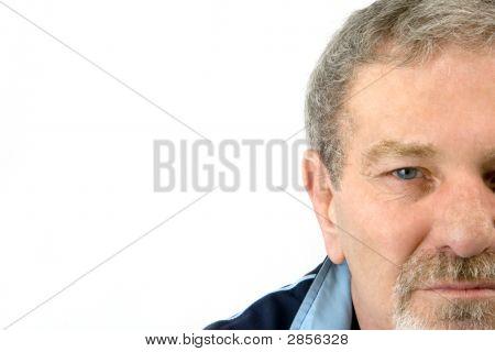 Close Up auf dem Gesicht eine Baby-Boomer - isoliert