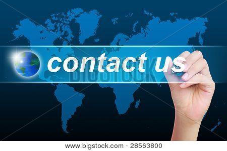 women hand writing contact us