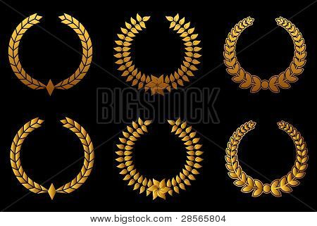 Golden Laurel Wreathes Set
