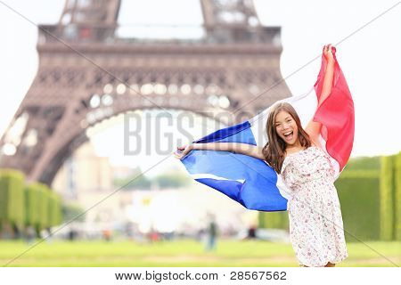 France - French Flag Woman By Eiffel Tower, Paris